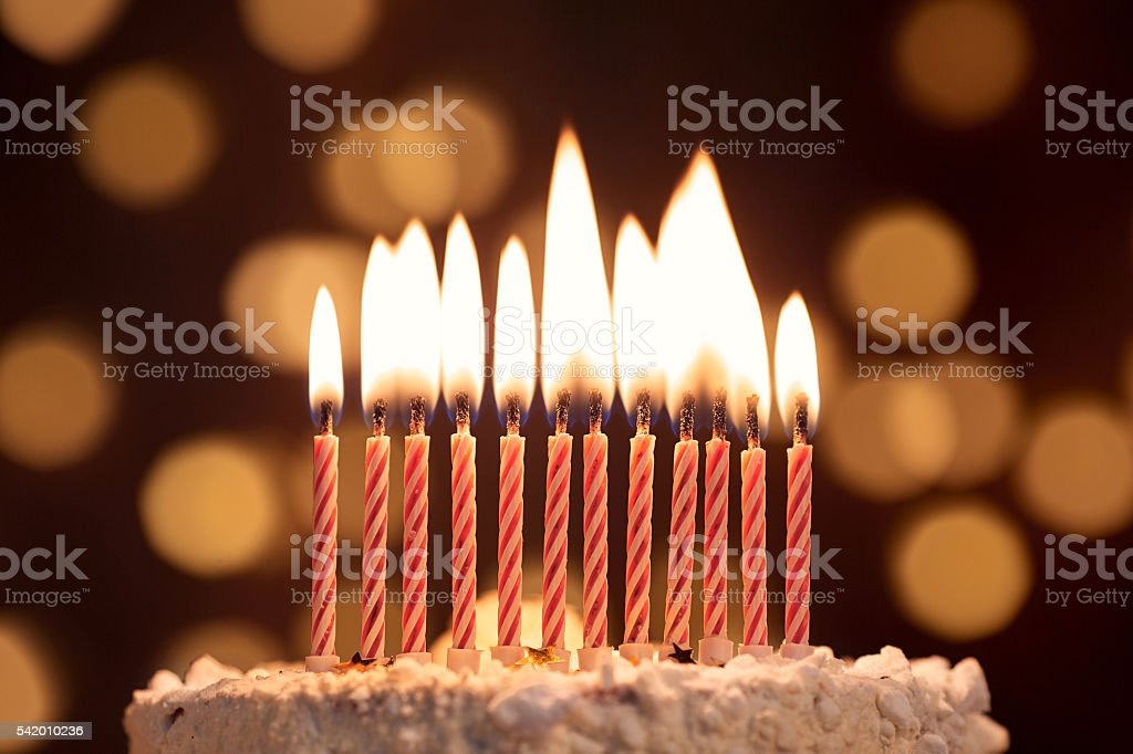 Cake shot on a bokeh background with candles. stock photo