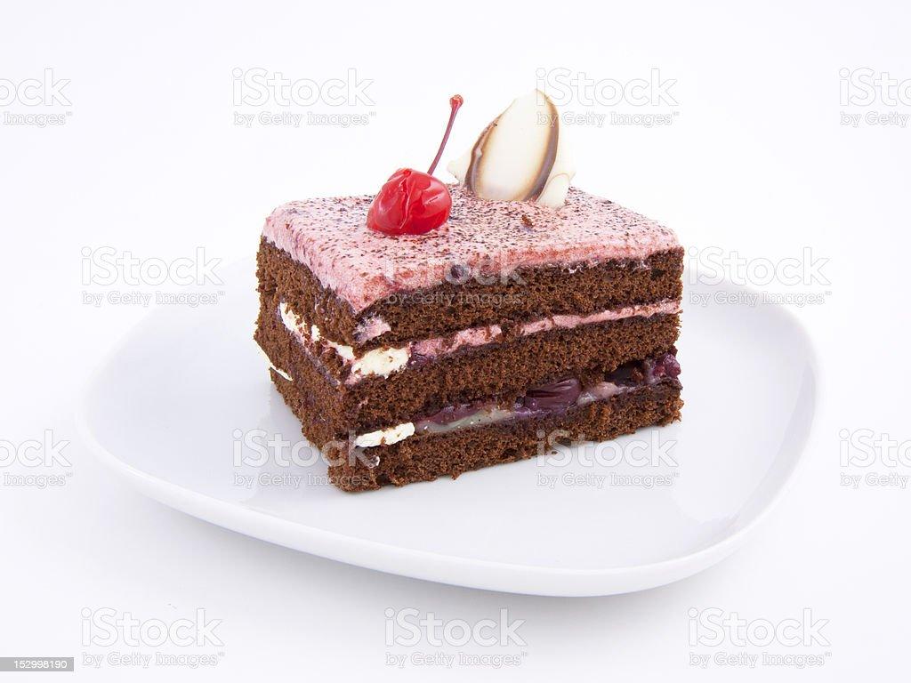 Cake slice with cherry royalty-free stock photo