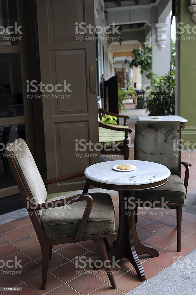 Cake table outside restaurant stock photo