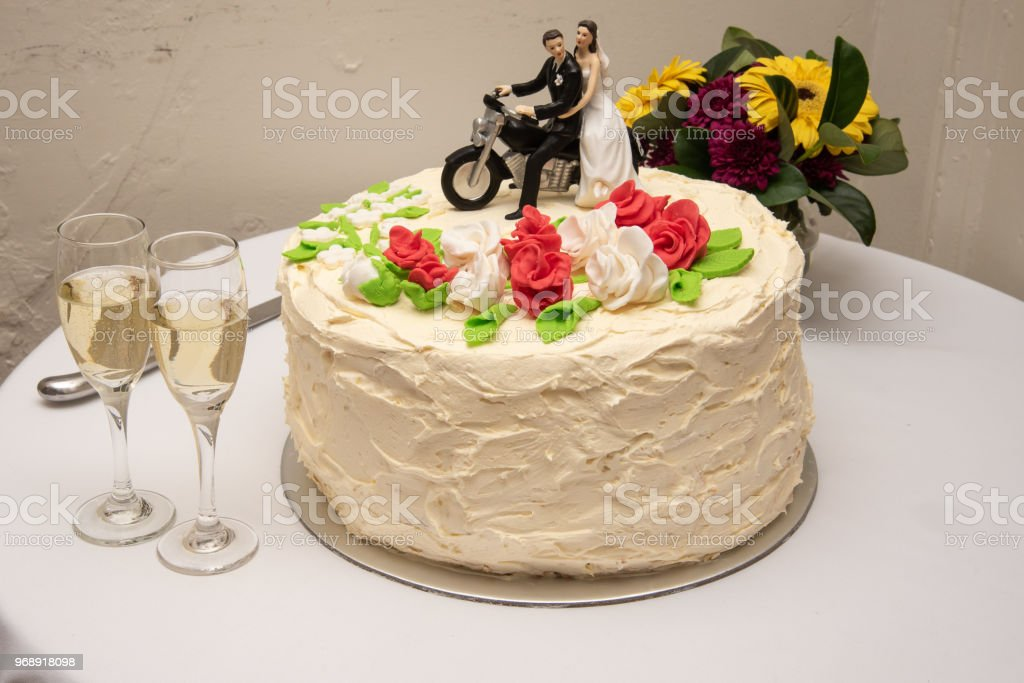 Cake Topper Bride And Groom Sitting On A Motorcycle Stock Photo Download Image Now Istock