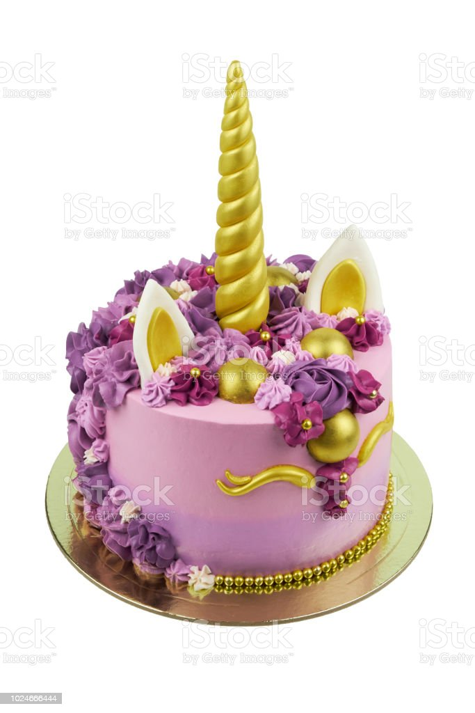 Cake Unicorn With Pink Cream And Flowers For Girls Birthday