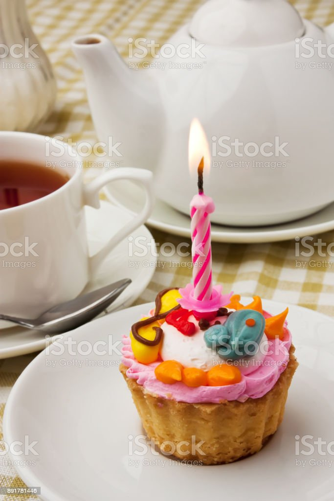 cake with a candle stock photo