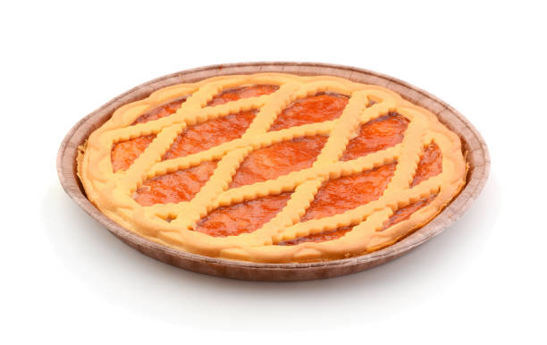 Cake with apricot jam stock photo