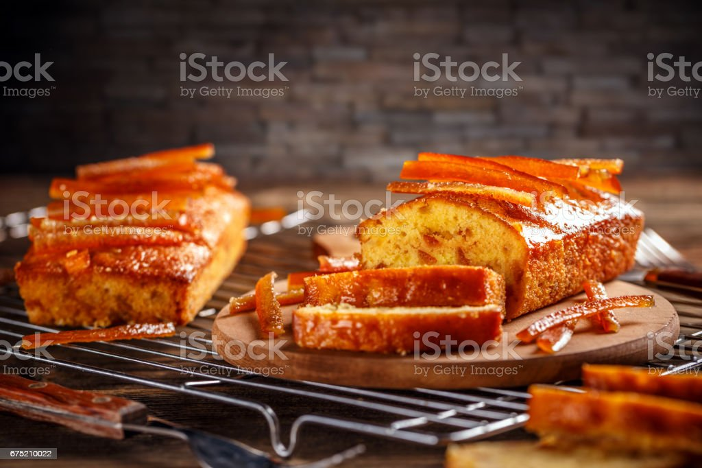 Cake with candied orange zest royalty-free stock photo