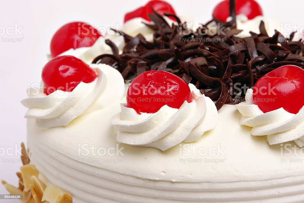 Cake with cherries royalty-free stock photo