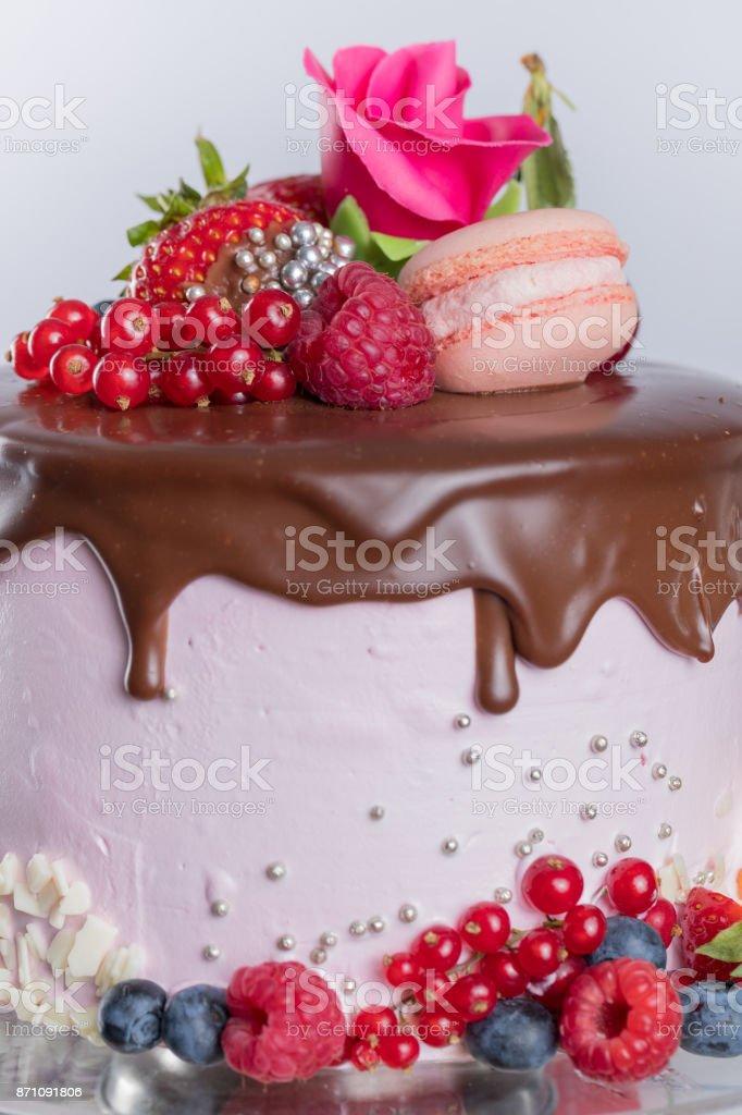 Cake with chocolate icing stock photo