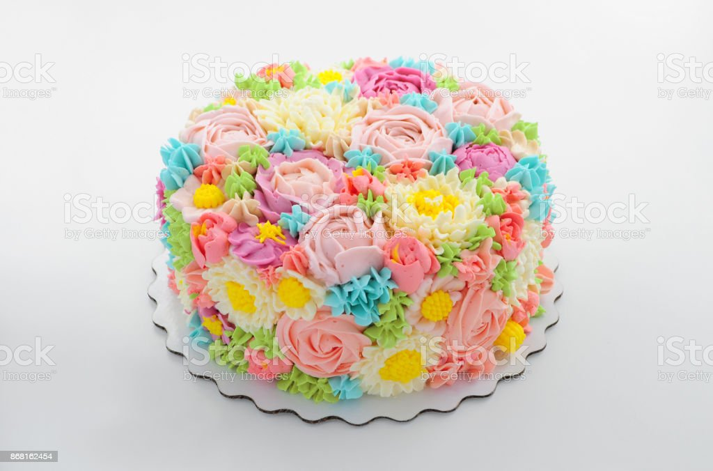 Cake with color cream flowers. stock photo