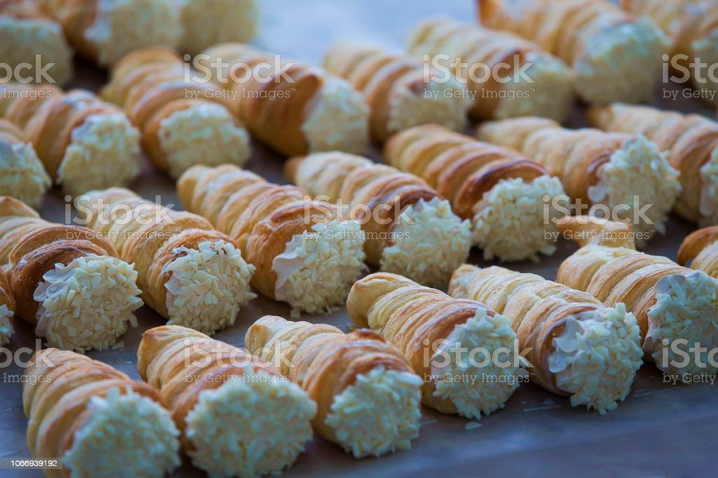 Cake with cream. Tubules with cream. stock photo