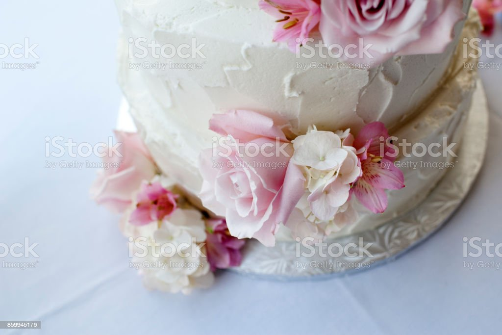 Cake with flowers at wedding stock photo