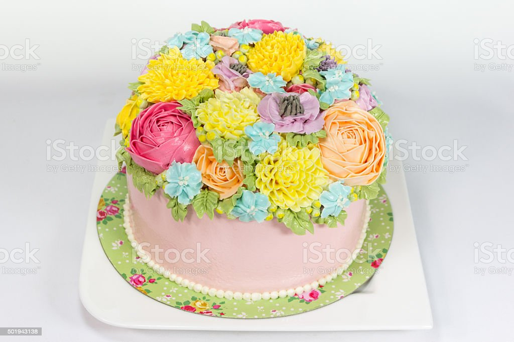 cake with flowers stock photo