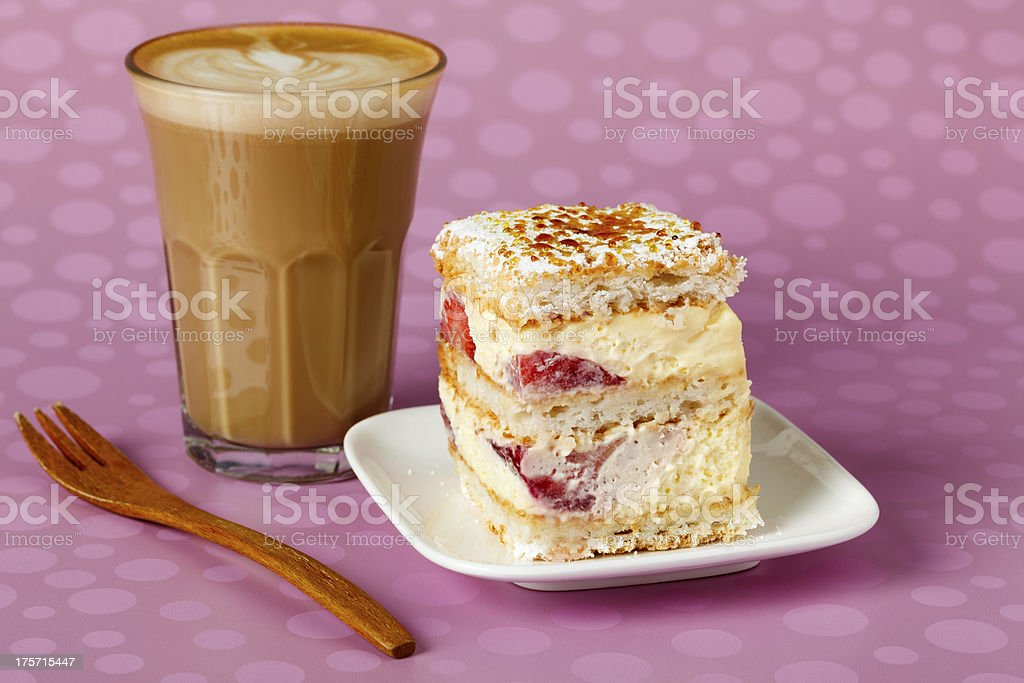 Cake with Fork and Coffee royalty-free stock photo