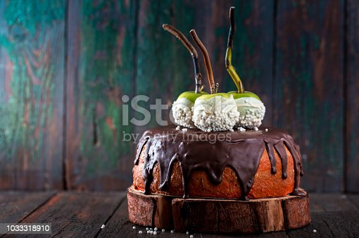 istock Cake with green apples 1033318910