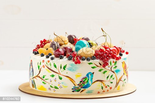 istock Cake with hand painted colorful birds and fresh berries 810244762