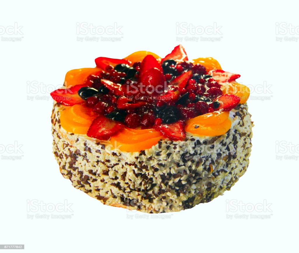 cake with many berries isolated on the white stock photo