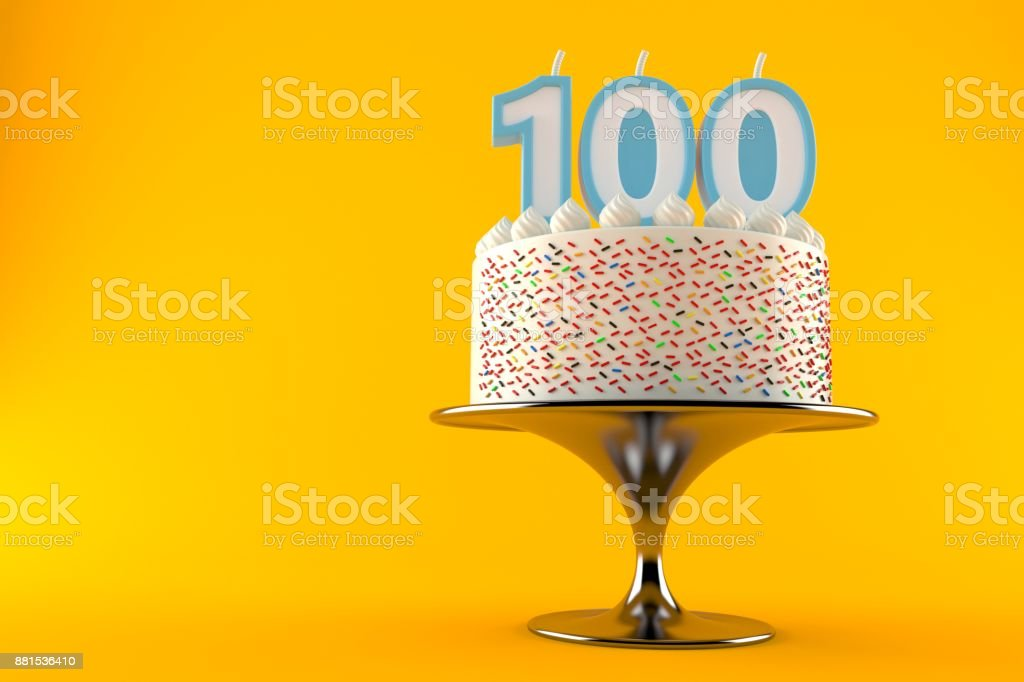 Cake with one hundred candle stock photo