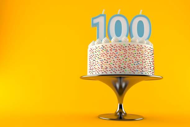 kuchen mit hundert kerze - nummer 100 stock-fotos und bilder
