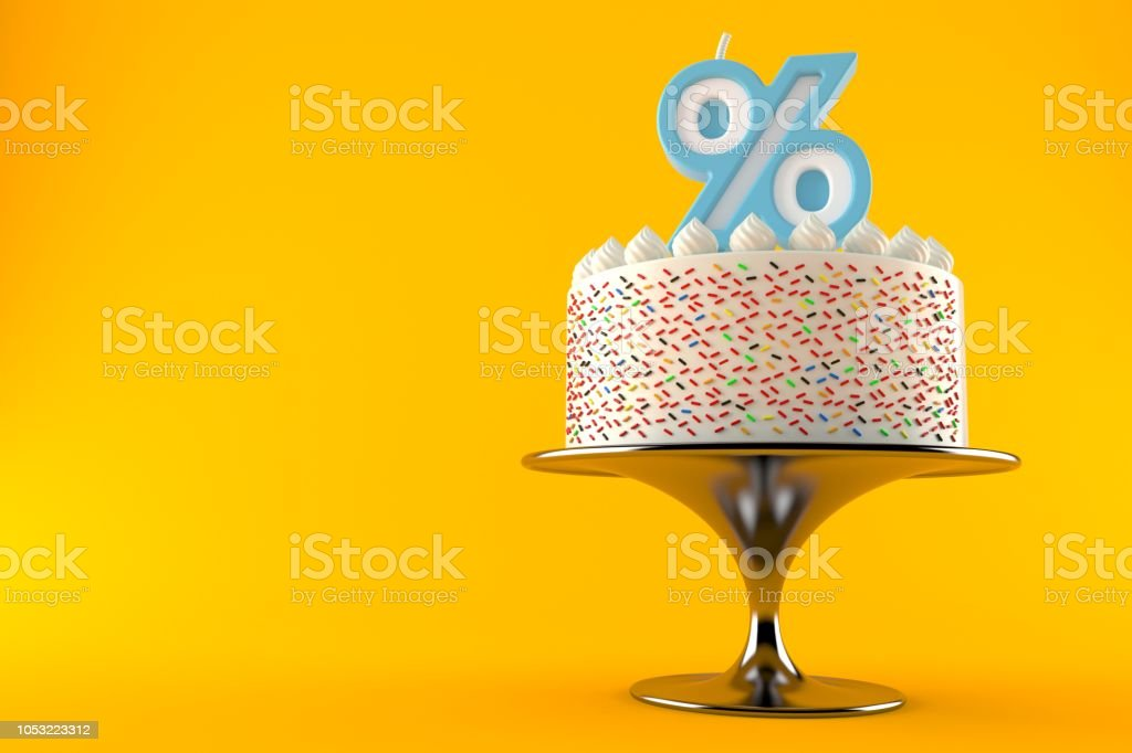 Cake with percent candle stock photo