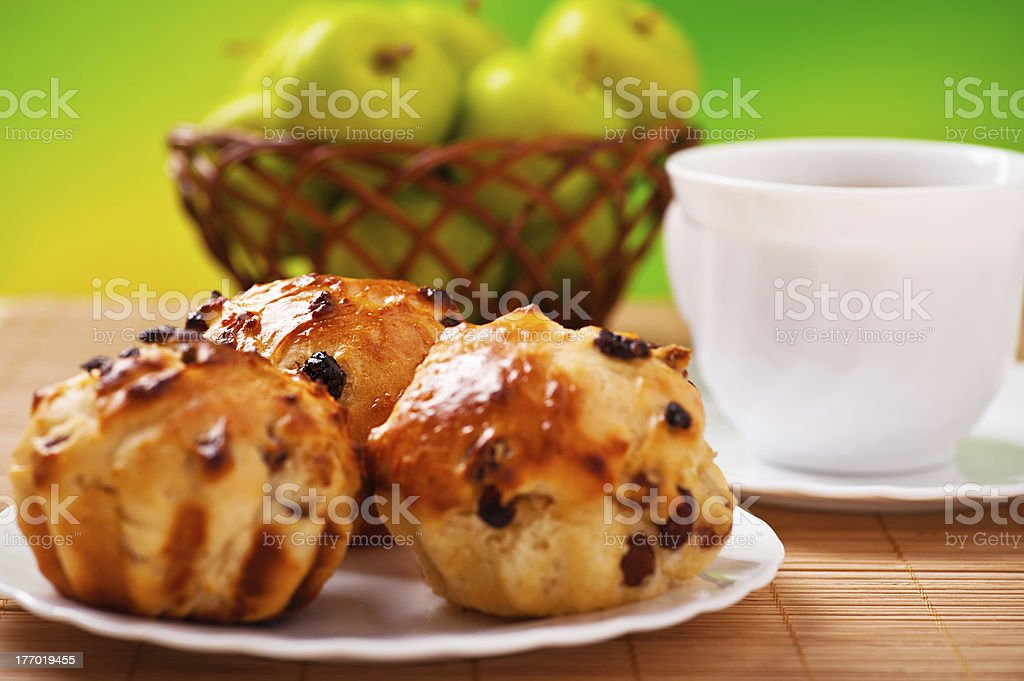 cake with raisins, cup of coffee, tea, apples royalty-free stock photo
