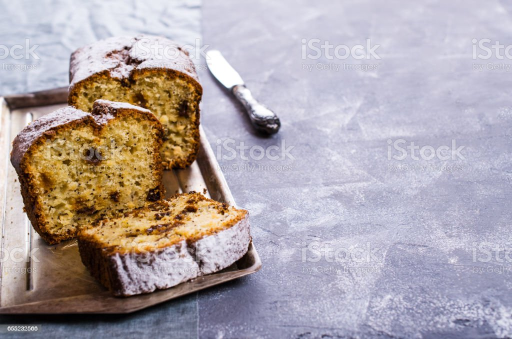 Cake with raisins stock photo