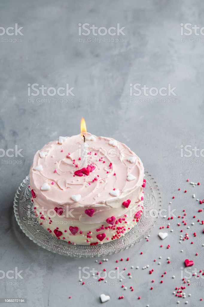 Fantastic Cake With Small Hearts And Colorful Sprinkles On Gray Background Birthday Cards Printable Riciscafe Filternl