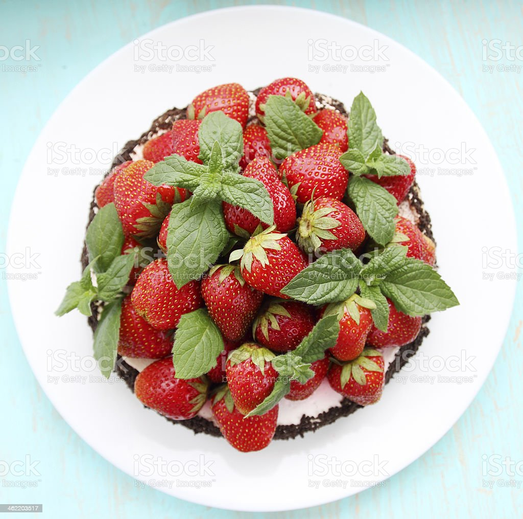 cake with strawberry, top view stock photo