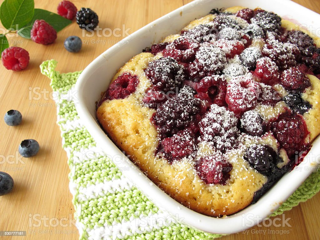 Cake with summer berries stock photo