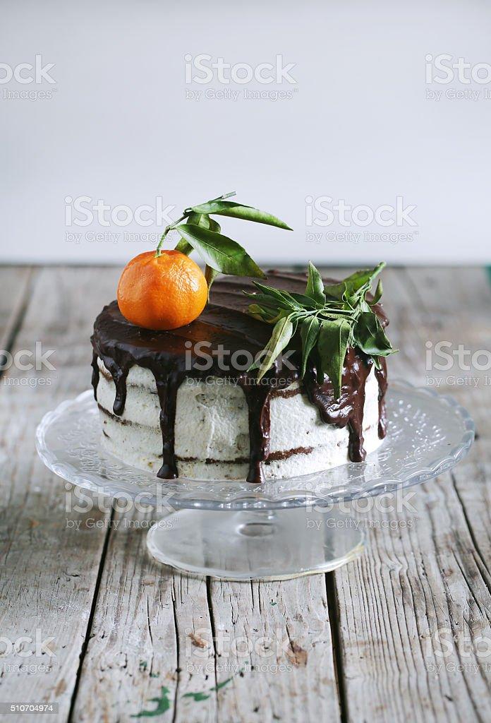 Gâteau de mandarine, de crème au chocolat et glaçage au fromage - Photo