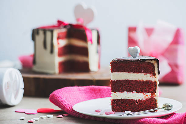 Cake with Valentine Day decoration 스톡 사진