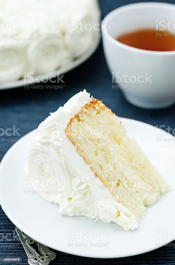 cake with vanilla cream in the form of roses stock photo