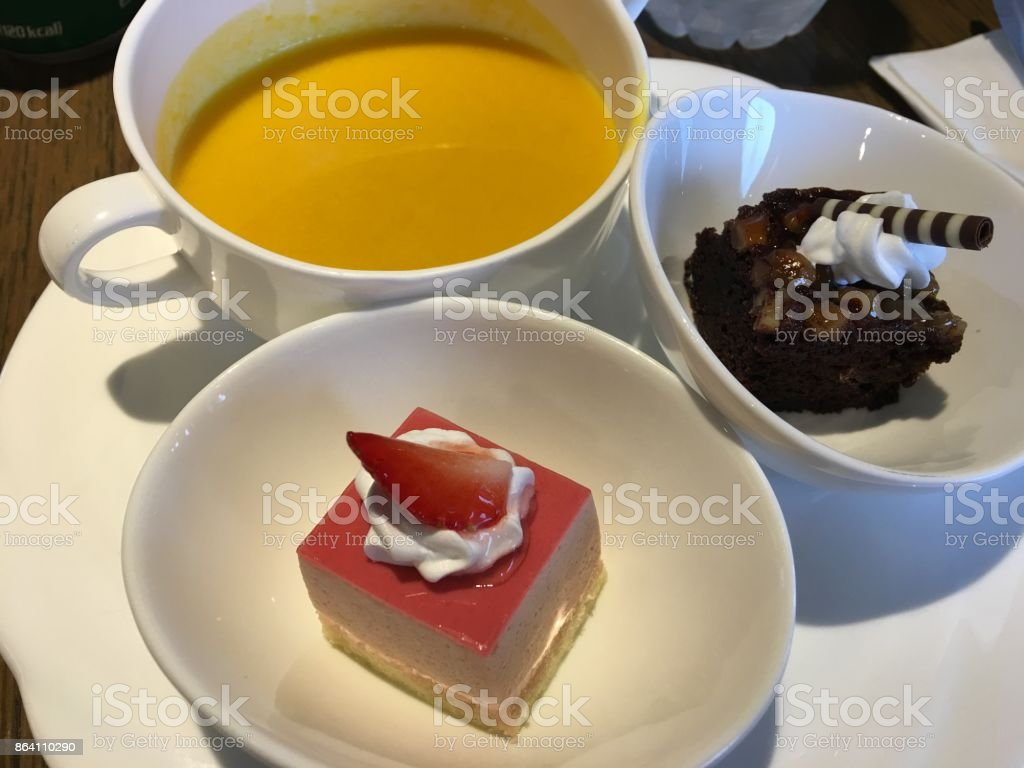 cakes and pumpkin soup in Seoul royalty-free stock photo