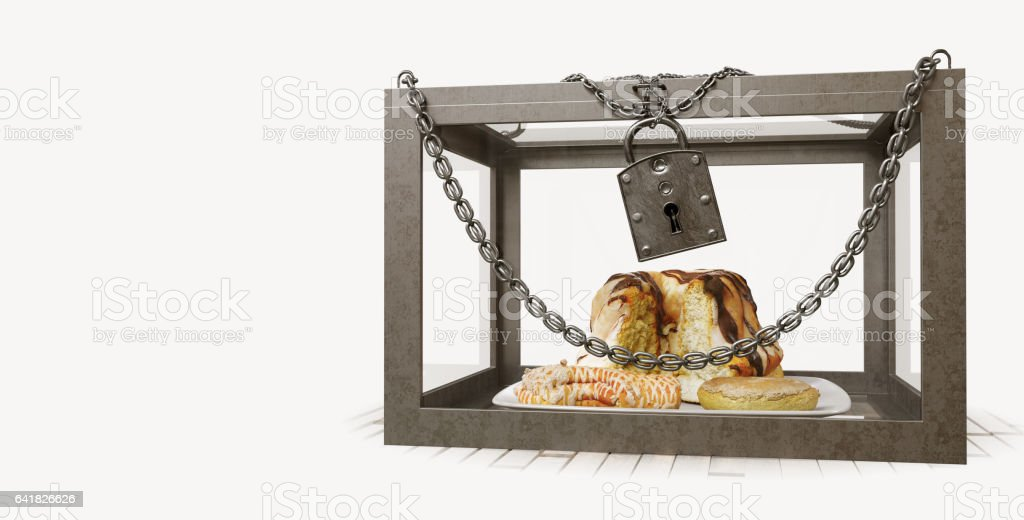 cakes in close metal box with chains diet concept composition photo stock photo