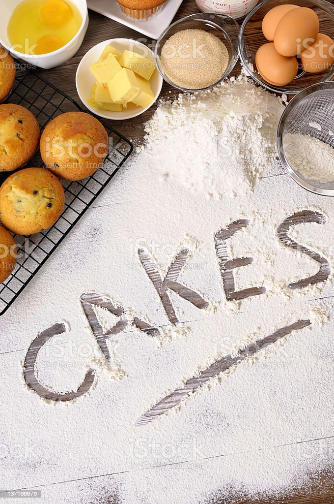 Cakes with ingredients royalty-free stock photo