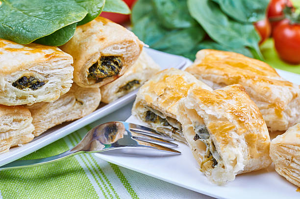 Cakes with spinach and goat cheese stock photo