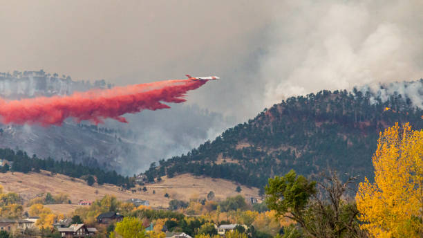 Cal Wood Fire Aerial Attack stock photo