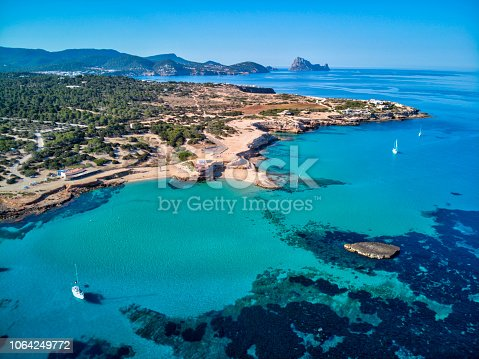 Cala Conta, a clear water and beaultiful beach in the island of Ibiza - Spain