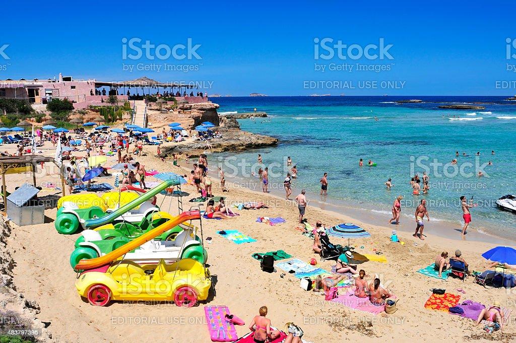 Cala Conta Beach In San Antonio Ibiza Island Spain Stock
