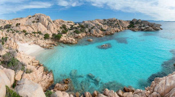 spiaggia di cala coticcio, isola di caprera, sardegna, italia - sardegna foto e immagini stock
