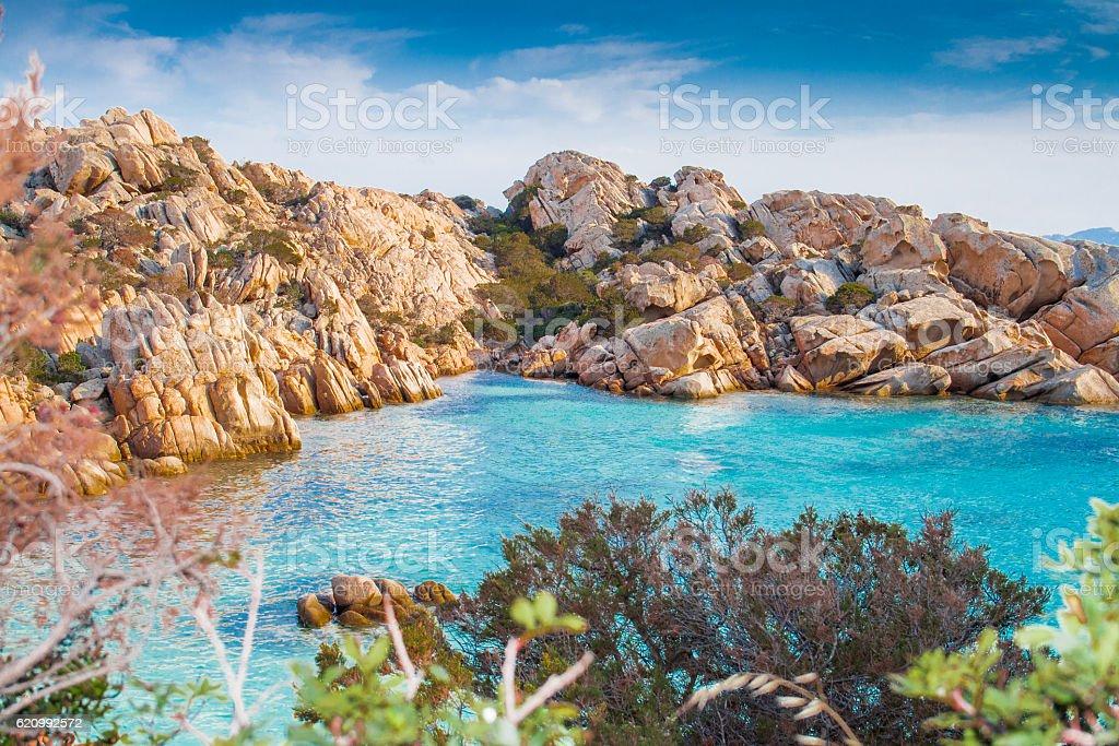 Cala coticcio beach. Caprera Island, Sardinia. stock photo