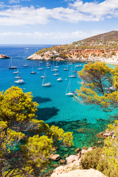 Cala d Hort in Balearic Islands Cala d Hort in Balearic Islands, Ibiza, Spain ibiza island stock pictures, royalty-free photos & images