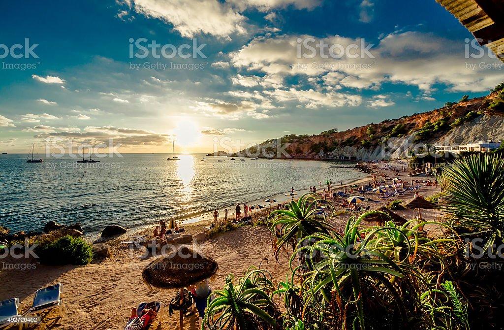 Cala d'Hort Beach at sunset stock photo