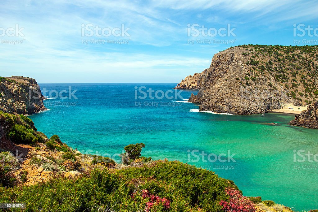 Cala Domestica (Sardinia). Cliff, flowers, colorful sea, cloudy sky stock photo