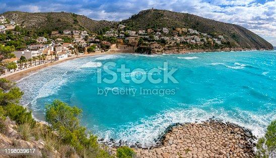 Cala El Portet beach in Moraira Alicante Teulada Mediterranean of Spain