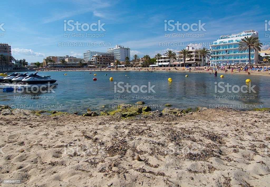 Cala Estancia beach and hotel skyline royalty-free stock photo
