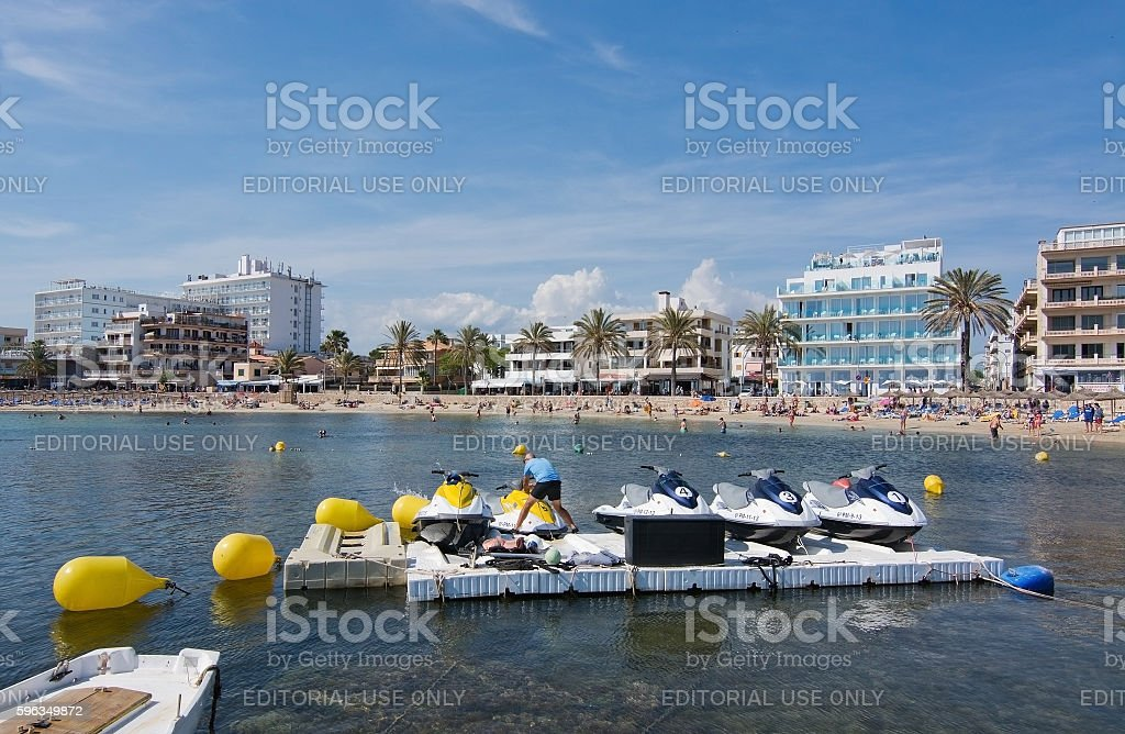Cala Estancia beach and hotel skyline royalty-free stock photo
