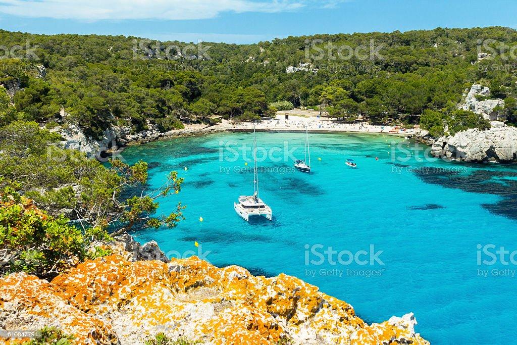Cala Macarella beach at Menorca island, Spain stock photo