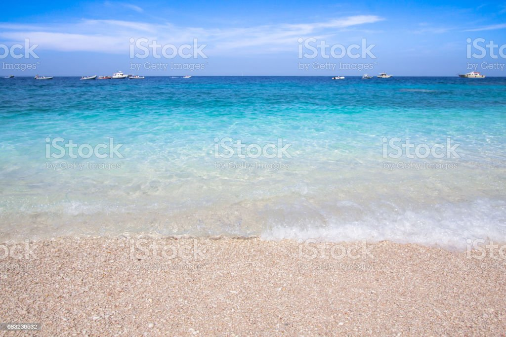 Cala Mariolu beach on the Sardinia island, Italy royalty-free 스톡 사진