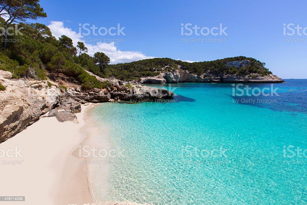 Cala Mitjaneta in Menorca Ciutadella at Balearics stock photo