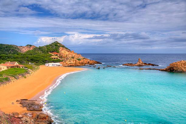 Cala Pregonda in Menorca at Balearic islands stock photo