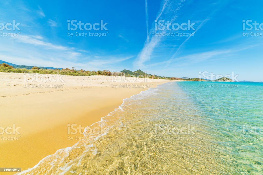 Cala Sinzias shore in Villasimius royalty-free stock photo