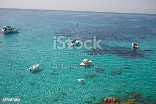Boats in Cala Tarida, Ibiza, Spain. View from above, shot in August 2014